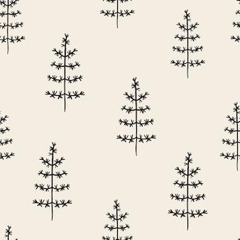 Naadloze zwart-wit kerstboom patroon
