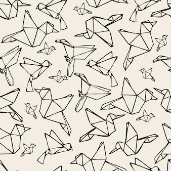 Naadloze zwart-wit papier vogel origami patroon achtergrond