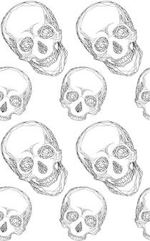 Naadloze zwart-wit patroon met handgetekende schedel voor uw