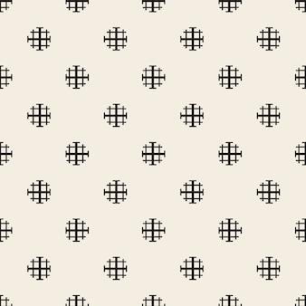 Naadloze zwart-wit puntvorm en dwarslijnpatroonachtergrond