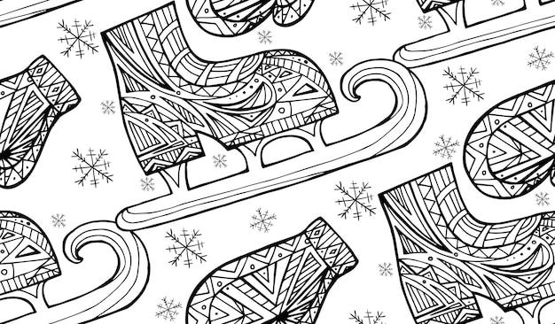 Naadloze zwart-witte textuur met doodle wanten en schaatsen met boho patroon