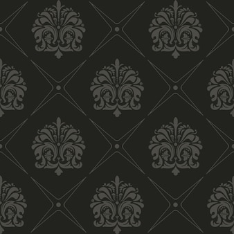 Naadloze zwarte achtergrond, oude stijl vector patroon