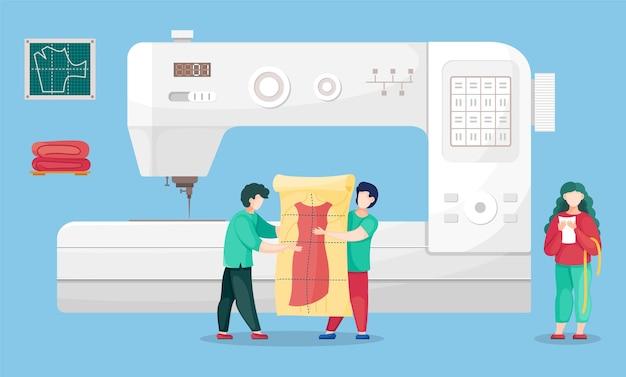 Naaiatelier met ontwerpers bij naaimachine