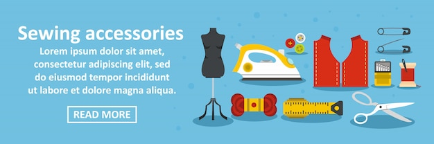 Naaien accessoires banner horizontaal concept