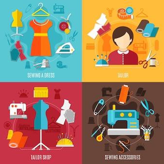 Naaien concept icons set