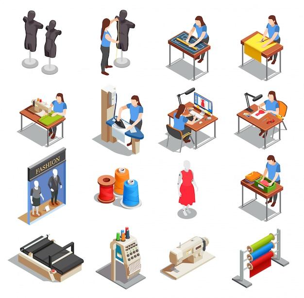 Naaien fabriek isometrische icons set