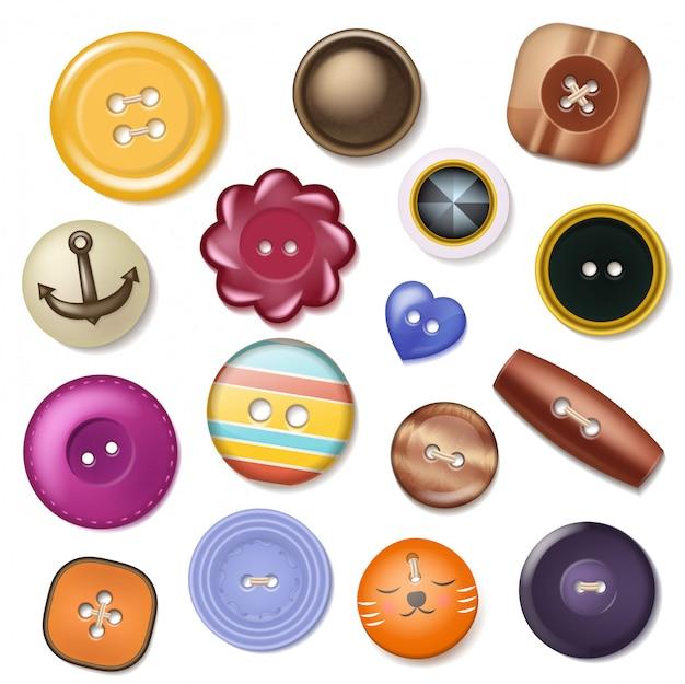 Naaien knop mode ontwerp kleding accessoire collectie kleding op maat illustratie set van kleurrijke plastic doek om object te naaien jurk geïsoleerd op een witte achtergrond