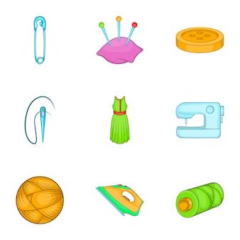 Naaien leveringen iconen set, cartoon stijl