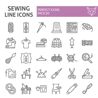Naaien lijn icon set, kleermaker collectie