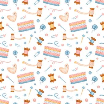 Naaien naadloos patroon. handwerk patroon. breien, haken, borduurpatroon.