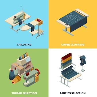 Naaien productie. het textiel productieconcept beeldt isometrische industriële naaimachines af