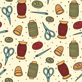 Naaien thema naadloos patroon ontwerp