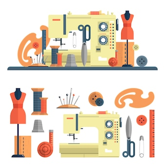 Naaimachine en accessoires voor kleermakerij en handgemaakte mode. vectorreeks elementen en geïsoleerde ontwerpelementen in vlakke stijl. naalden en mannequin.