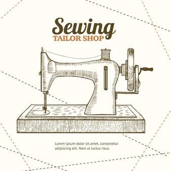 Naaimachine, kleermaker hand loting schets. uitrusting van een naaister of naaister.