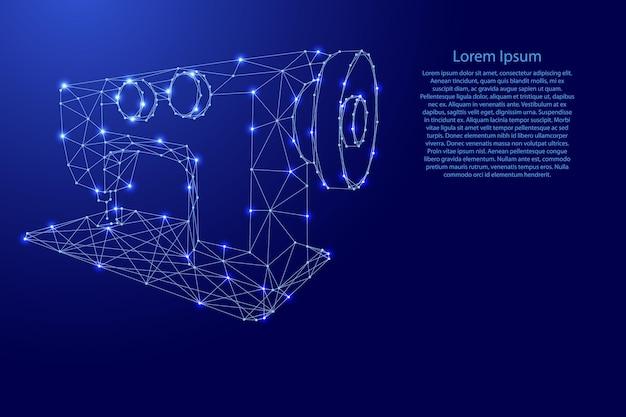Naaimachine van futuristische veelhoekige blauwe lijnen en gloeiende sterren voor spandoek, poster, wenskaart. vector illustratie.