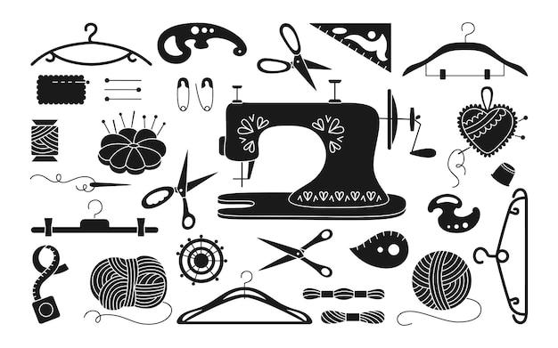 Naaiset zwart glyph, draad en schaargaren, naaldpennaald.