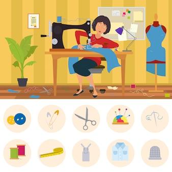 Naaister die zich bezighoudt met maatwerk. vrouw naait kleding in de kleermaker. taylor naait kleding op bestelling in een thuiswerkplaats.