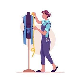 Naaister maatregelen kleding naai en knip kleding geïsoleerd