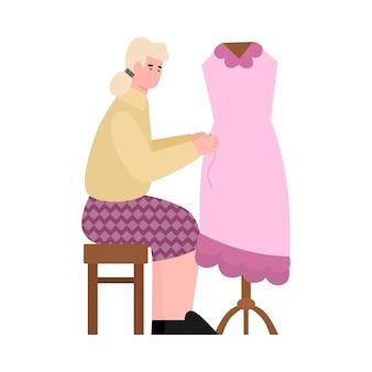 Naaister of kleermaker naaien jurk cartoon vectorillustratie geïsoleerd