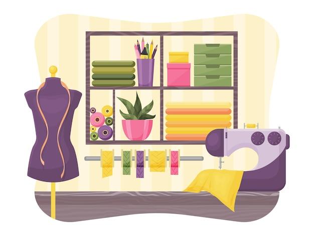 Naaister workshop. interieur. vector illustratie. cartoon-stijl.