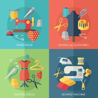 Naaisterjurk, naaimachine, accessoires, handgemaakte elementen