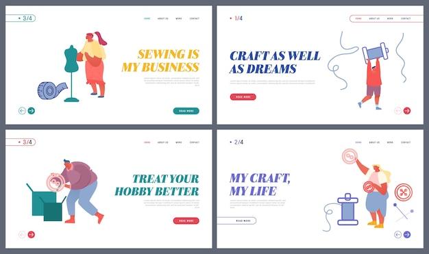 Naaisters maken een bestemmingspagina voor een outfit- en kledingwebsite