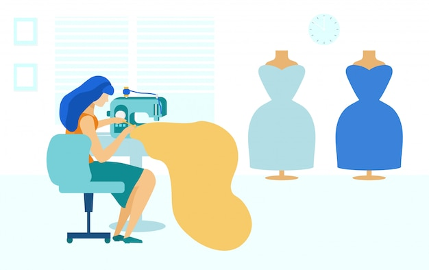 Naaistudio en jonge vrouw met naaimachine,