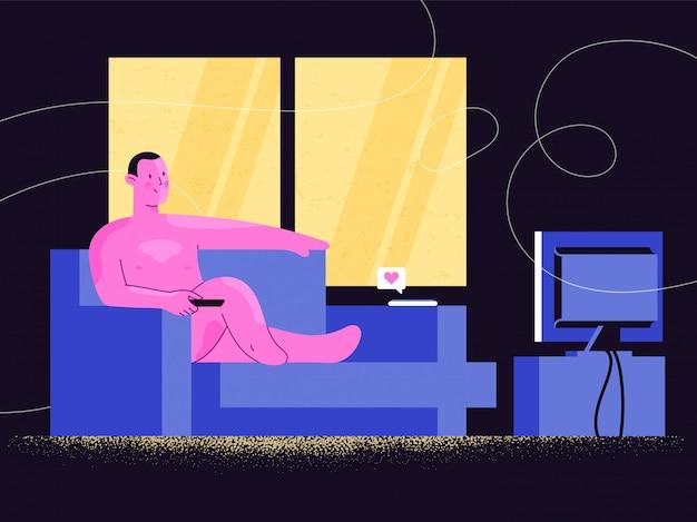 Naakt man kijken naar tv-show of online video streaming op een bank. thuis relaxen. comfort, vertrouwen en zelfacceptatie. vrijheid van de samenleving regeert thuisblijven.