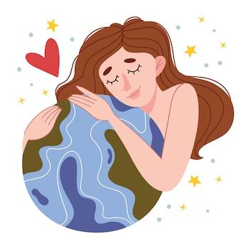 Naakt meisje knuffelt de planeet.reeveconcept van ecologische manier van leven. dag van de aarde. liefde voor de planeet. minimalisatie. natuur.