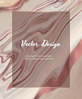 Naakt met roze gouden folie ontwerpkaart met vloeibare inkt met geometrisch wit marmeren frame.