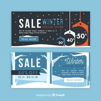 Naakte bomen winter verkoop banner