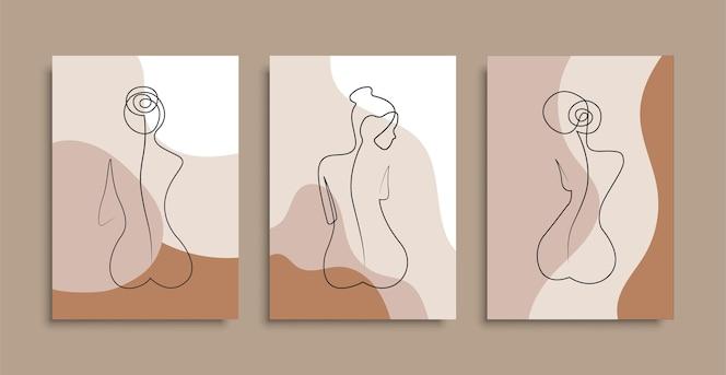 Naakte vrouw die een regel achterover leunt. poster hoezen. minimaal vrouwenlichaam. een lijntekening. voorraad.