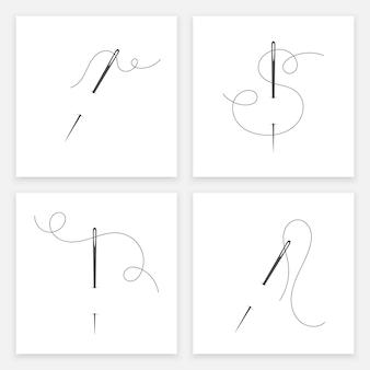 Naald en draad silhouet icon set vector illustratie kleermaker logo met naald symbool en curvy