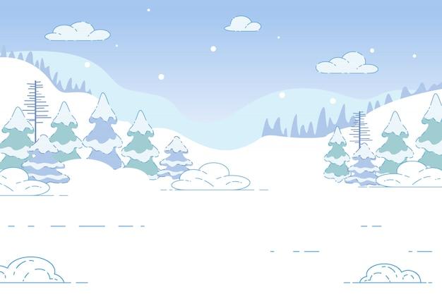 Naald winterbos. natuur xmas landschap