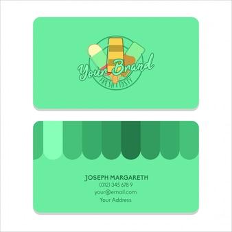 Naam kaart bussiness ijs groene egale kleur