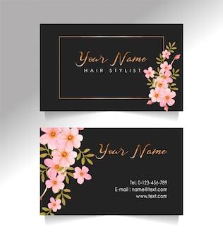 Naam kaart zwart en bloem sjabloon