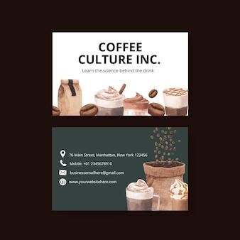 Naam kaartsjabloon met koffie in aquarel stijl