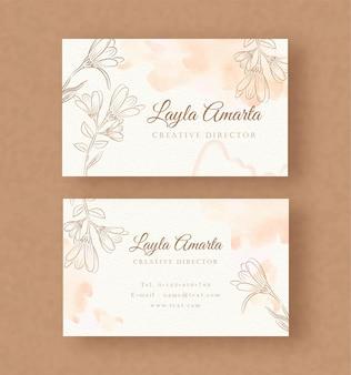 Naamkaart met plons en bloemen vectorachtergrondsjabloon