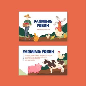 Naamkaartsjabloon met nationaal boerendagconcept, aquarelstijl