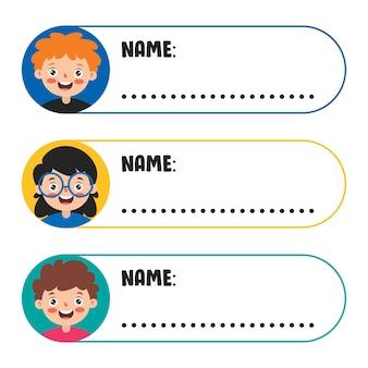 Naamlabels voor schoolkinderen