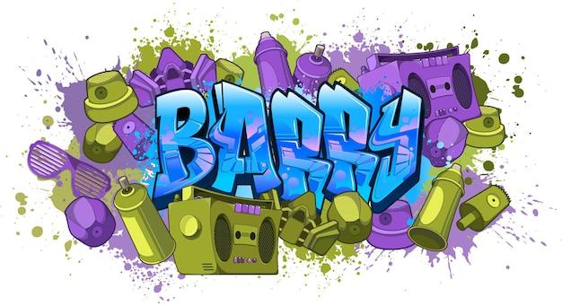 Naamontwerp in graffitistijl - barry cool leesbare graffitikunst