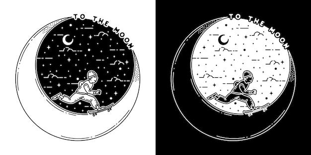 Naar de maan en terug monoline-badgeontwerp