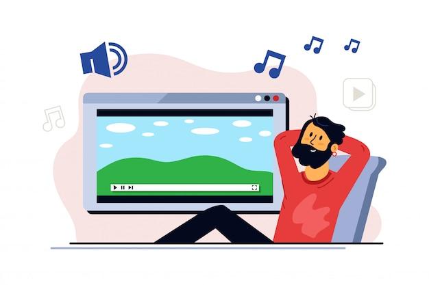 Naar muziek aan het luisteren. de mens blijft thuis en luistert muziek naar meditatie. portret van stripfiguur man ontspannen thuis met muziek van dit apparaat
