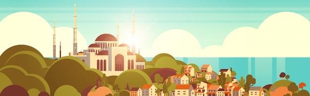 Nabawi moskee gebouw religie concept moslim stadsgezicht mooie kust achtergrond platte horizontale banner