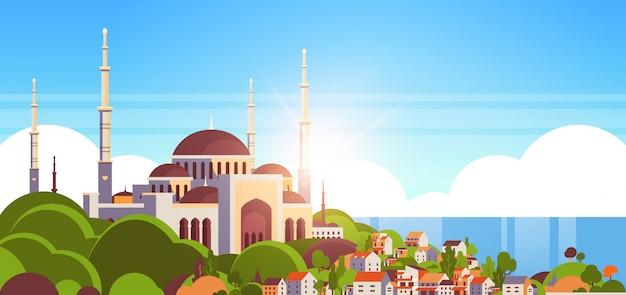 Nabawi moskee het bouwen van religie concept moslim stadsgezicht mooie kust achtergrond vlak horizontaal