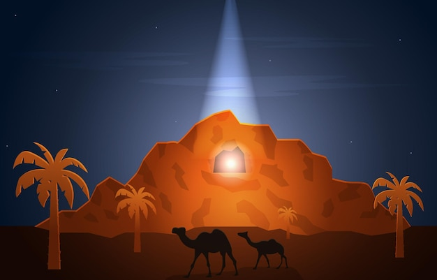 Nabi profeet mohammed boodschapper hira cave islam geschiedenis islamitische illustratie
