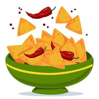 Nacho's in een kom met hete pepers groene plaat met mexicaans traditioneel gerecht vectorillustratie