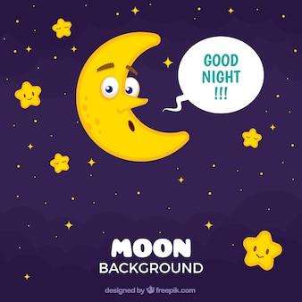 Nacht achtergrond met mooie maan en de sterren