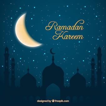 Nacht achtergrond van ramadan kareem