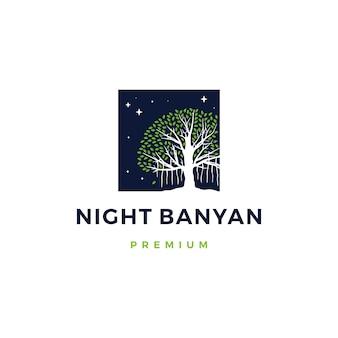 Nacht banyanboom logo pictogram illustratie